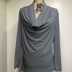 New York and Company Geometric Cowl Neck Top Large
